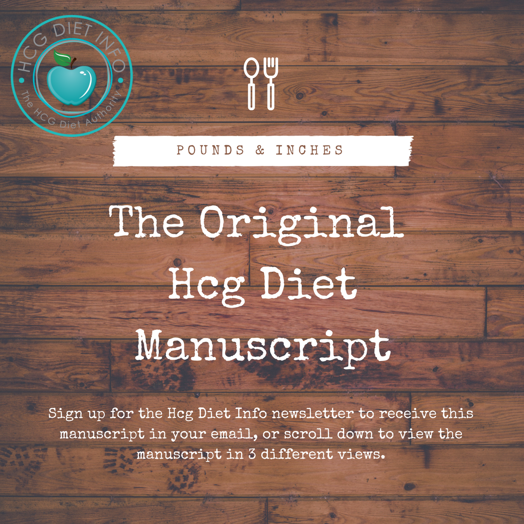 Original Hcg Diet Manuscript Pounds and Inches by Dr. Simeons