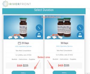 Riverfront Promo Step 1 - Select Hcg Duration