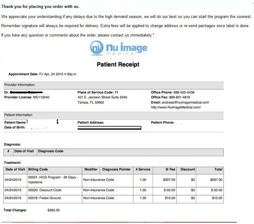 Nu Image Hcg Purchase Receipt for Review